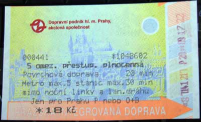 билет / ticket / jizdenka
